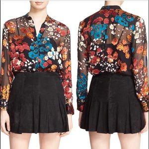 Alice+Olivia Belle Floral Print Silk tunic